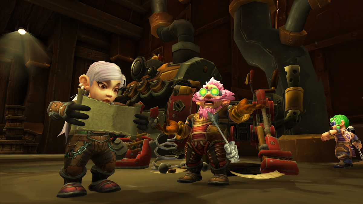 Three gnome engineers go about their business in a workshop.