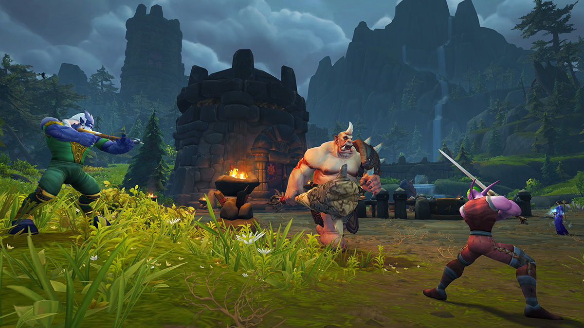 Draenei and Night Elf Facing Down an Ogre in Exile's Reach